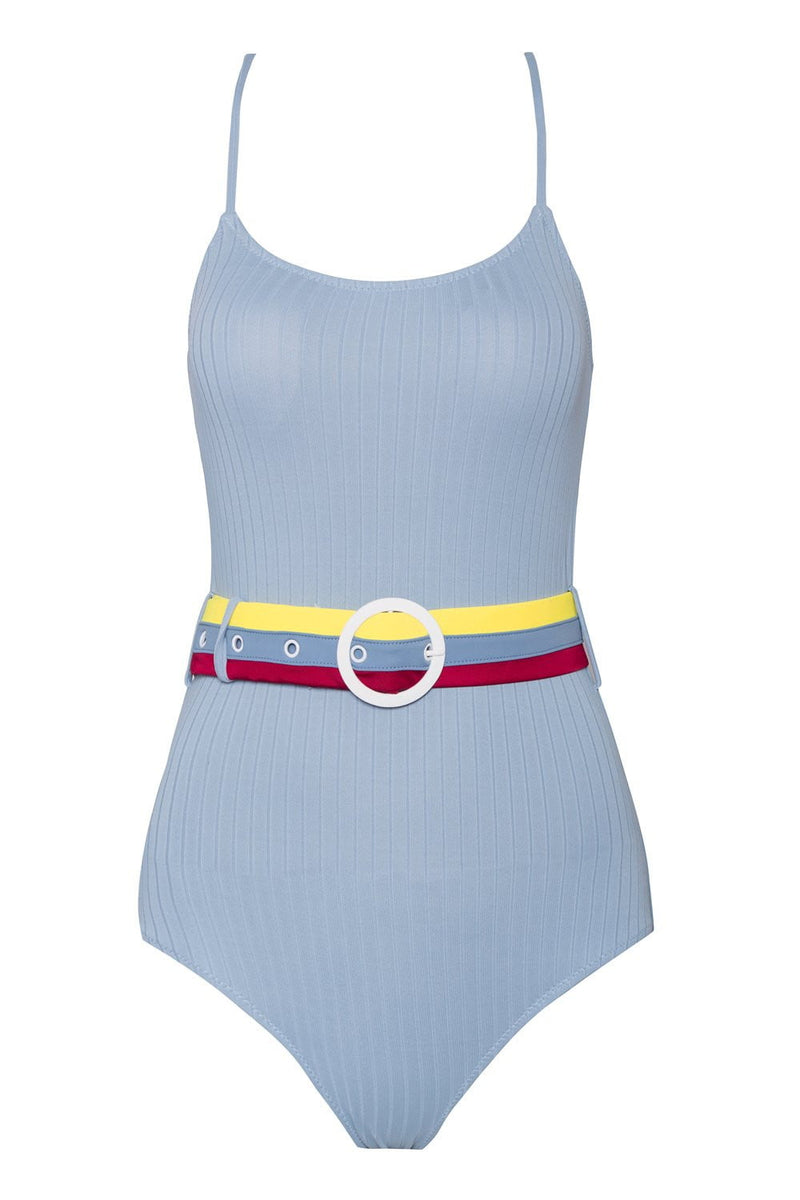Light Blue Belted Ribbed One Piece Swimsuit