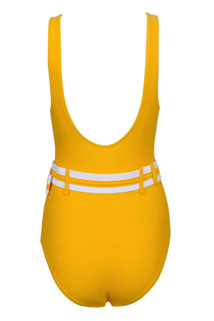 Mustard Yellow V-neck Belted One Piece Swimsuit (2079028674619)