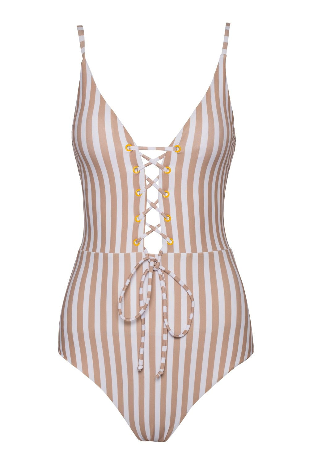 ed9b5dae3a0cc Striped Plunge Lace-Up One Piece Swimsuit