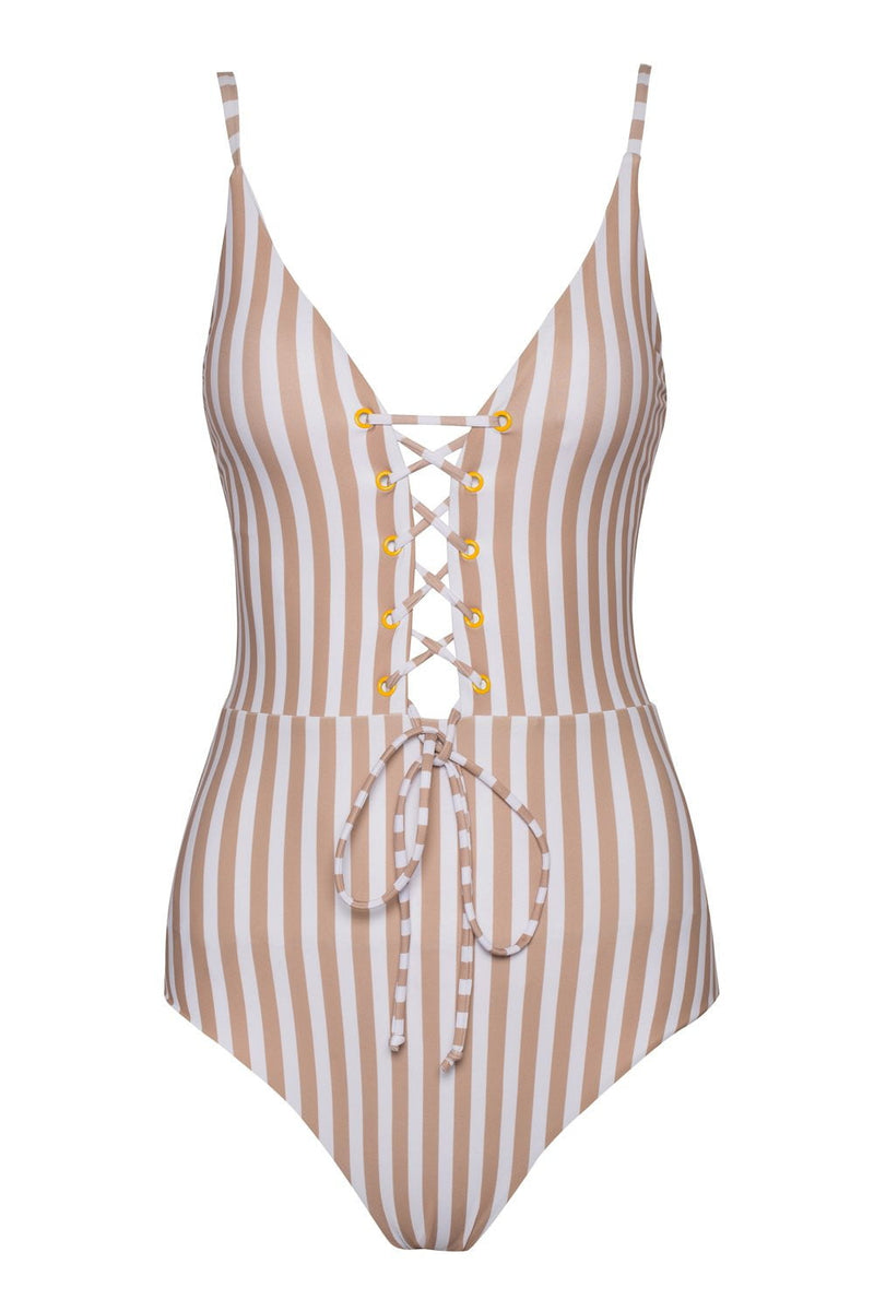 Striped Plunge Lace-Up One Piece Swimsuit
