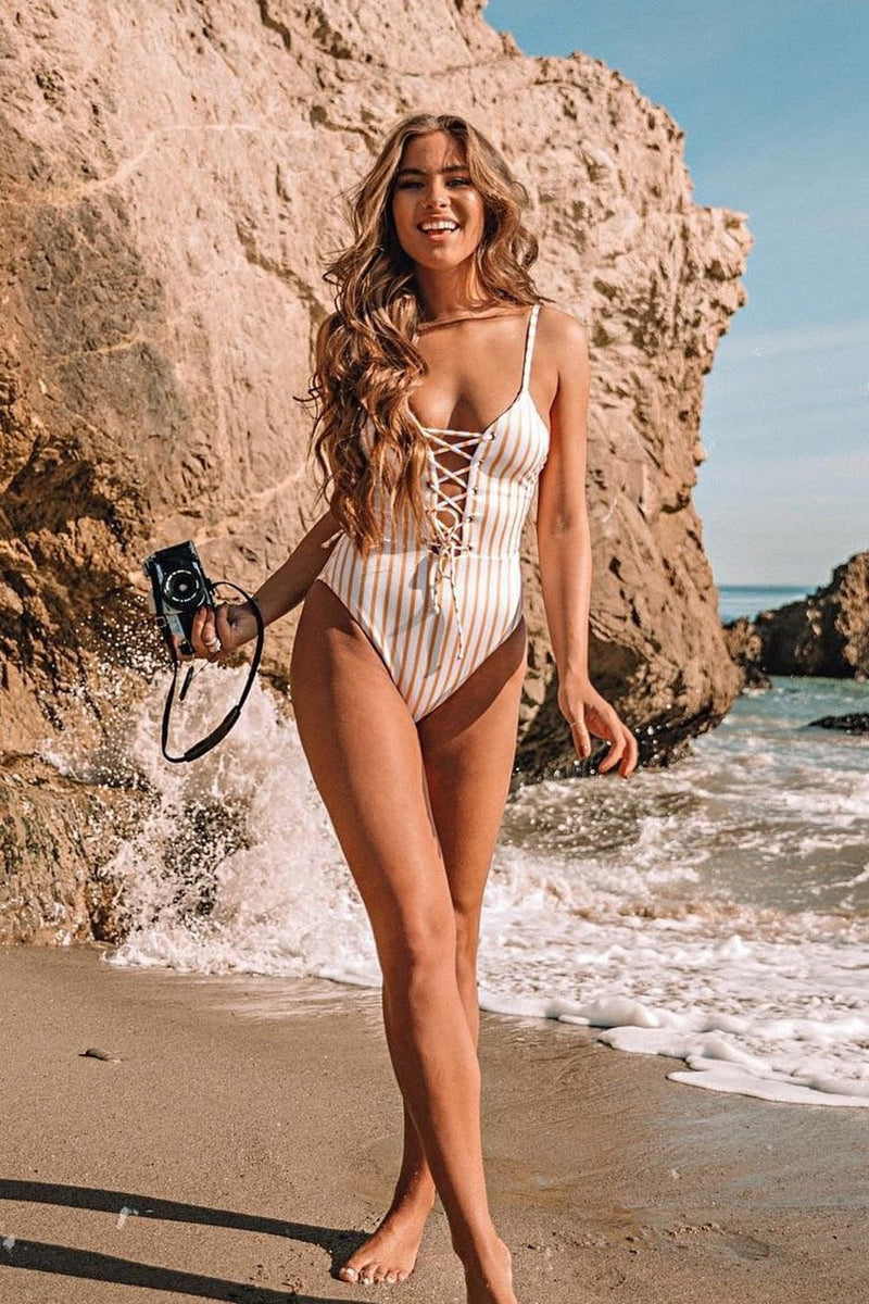 Striped Plunge Lace-Up One Piece Swimsuit (2079028871227)