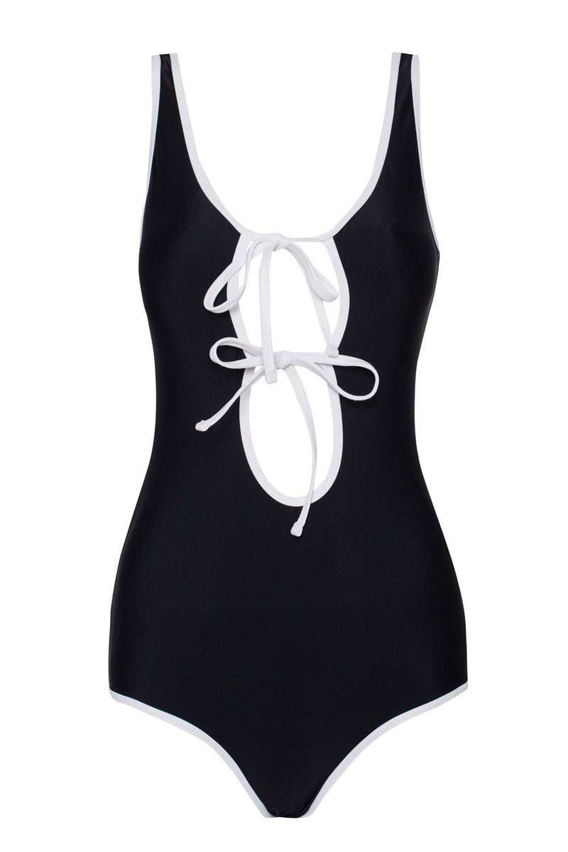 Double-Strap Tie Front One Piece Swimsuit