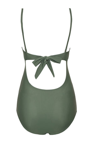 Green Twist Front Cut Out Push Up One Piece Swimsuit