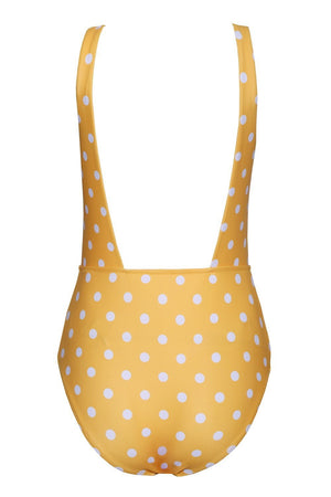 Mustard Polka Dots Bow Tie Front One Piece Swimsuit (2079029264443)