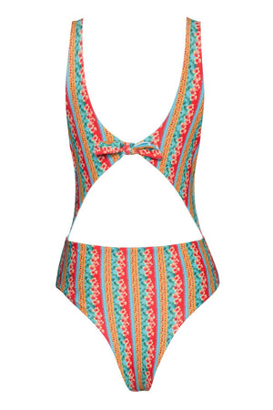 Floral & Striped Reversible One Piece Swimsuit
