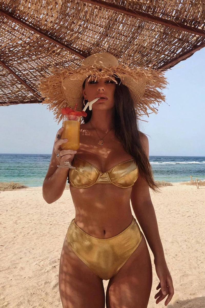 Metallic Gold Underwired Bustier Bra Bikini Top