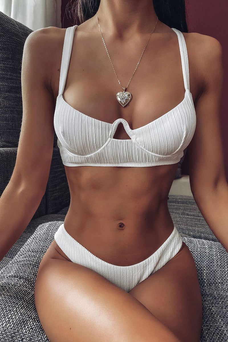 White Ribbed Curved-Cup Underwire Bikini Top