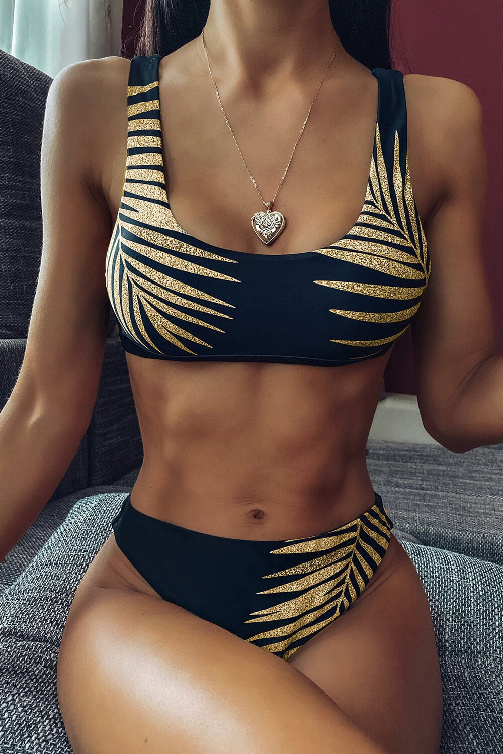 Gold Palm Leaf Print Sport Bikini Top