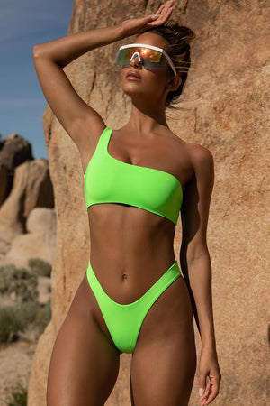 Neon Green High Rise Bikini Bottoms
