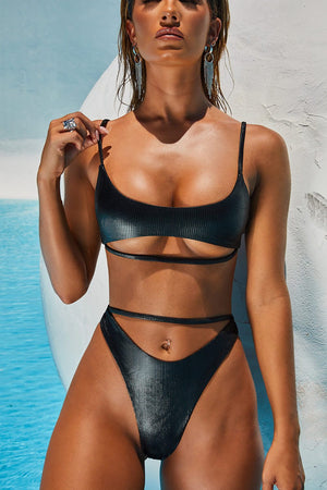 Metallic Black Ribbed Underbust Cut-Out Bikini Top