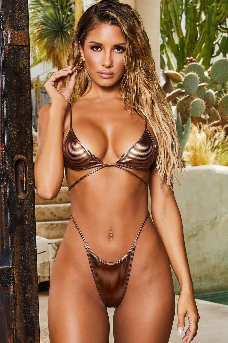 Metallic Bronze Ribbed Bikini Bottom
