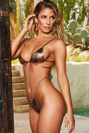 Metallic Bronze Ribbed Criss-Cross Triangle Bikini Top