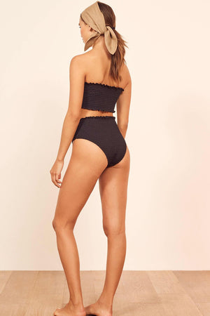Black Smocked Ruffle Trim High Waisted Bikini Bottom