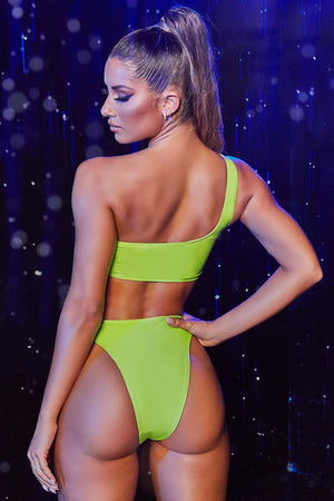 Lime Vinyl High Rise Bikini Bottoms