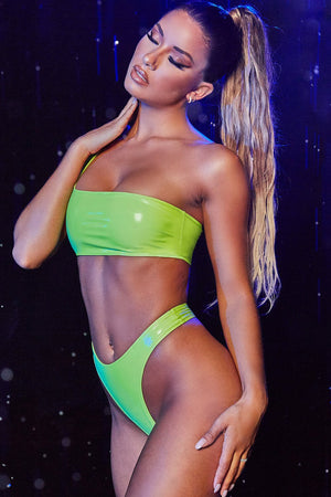 Lime Vinyl One Shoulder Asymmetric Bikini Top
