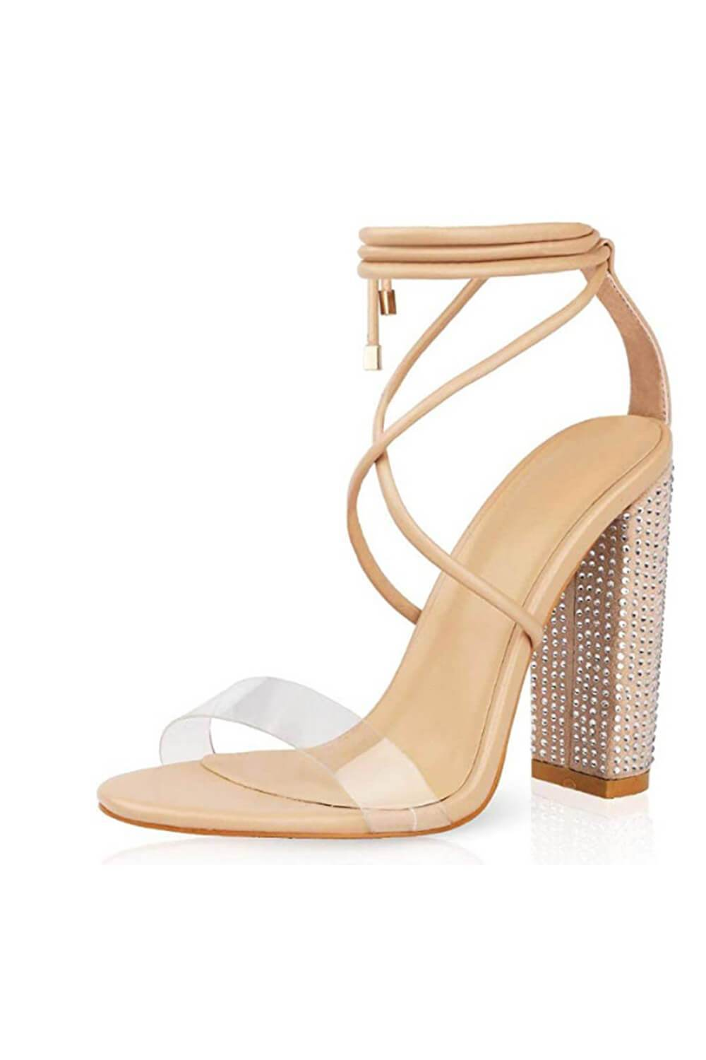 Beige Clear Lace Up Diamante Block Heeled Sandals