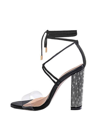 Black Clear Lace Up Diamante Block Heeled Sandals