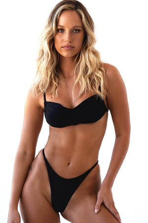 Black Adjustable Bandeau Bikini Top