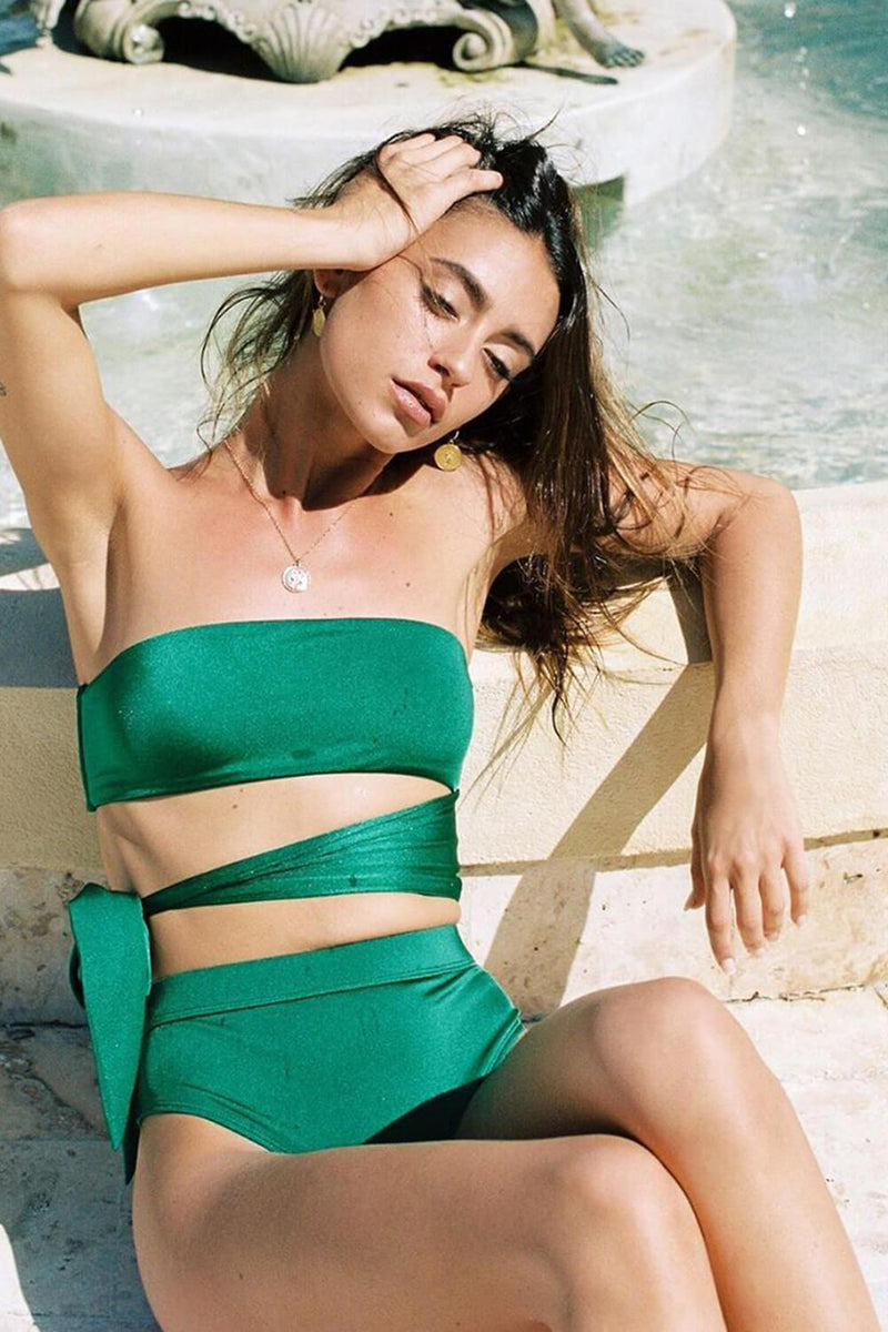 Green High Waisted Bikini Bottom