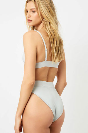 White Ribbed High Waisted Bikini Bottom