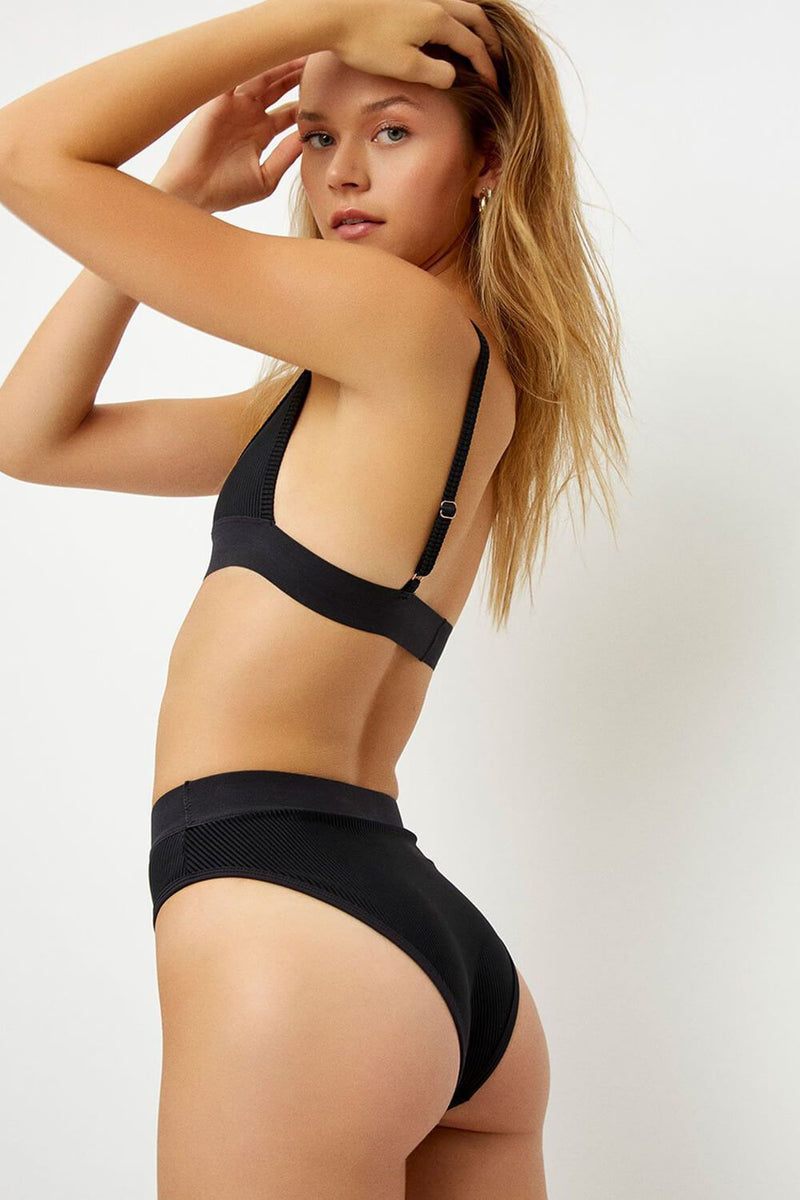 Black Ribbed High Waisted Bikini Bottom