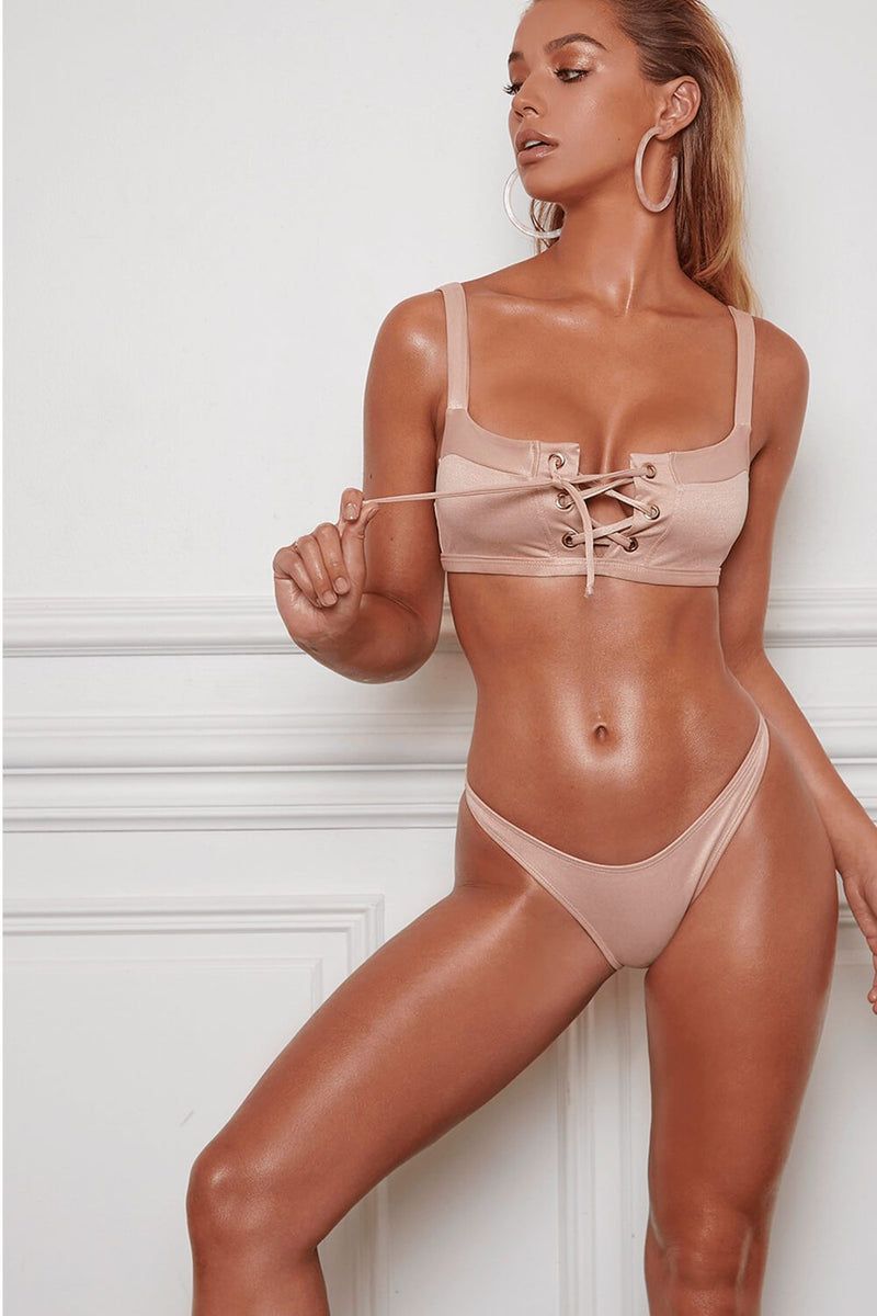 Champagne Crop Lace Up Bikini Top