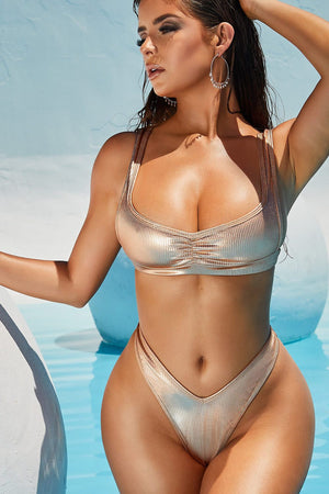 Metallic Bronze Ribbed Ruched Bikini Top