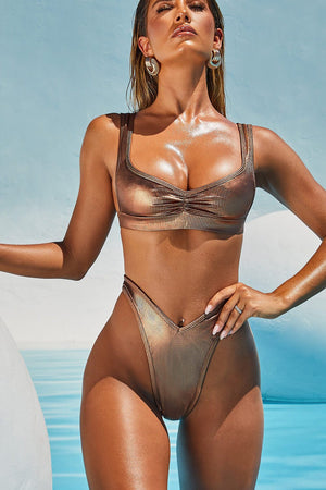 Rose Gold Ribbed Ruched Bikini Top