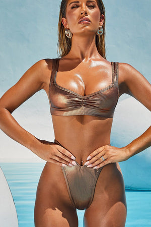 Rose Gold Ribbed Bikini Bottom