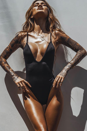 Black Plunge One Piece Swimsuit