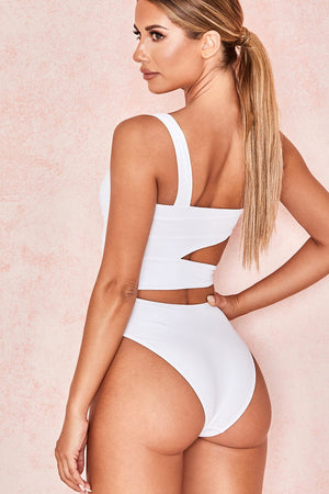 White Asymmetrical Cut Out Side Knot One Piece Swimsuit