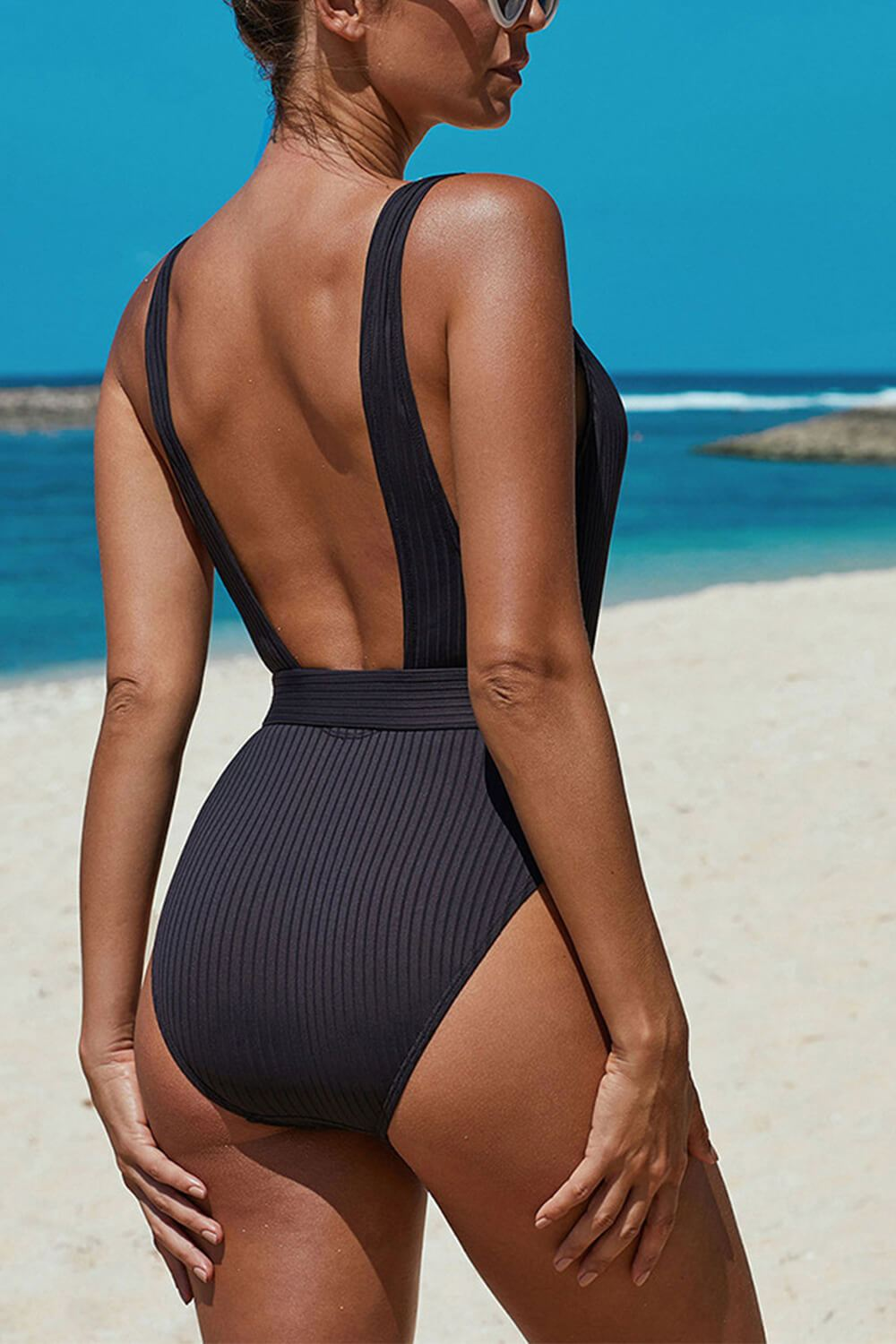 Black Ribbed Belted One Piece Swimsuit