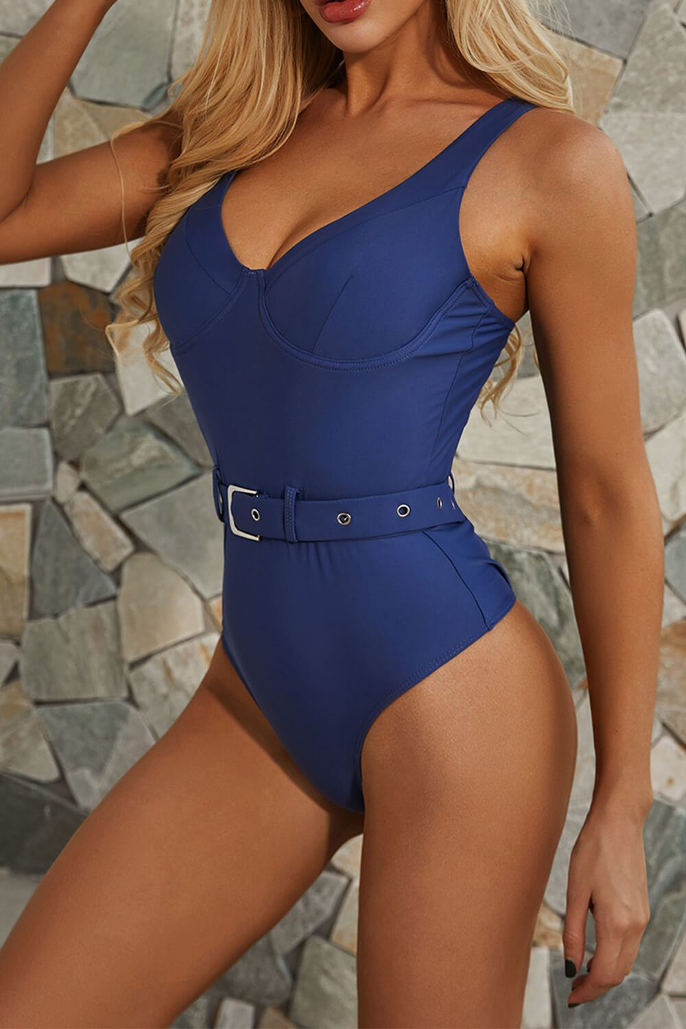 Blue Moulded Belted Plunge One Piece Swimsuit