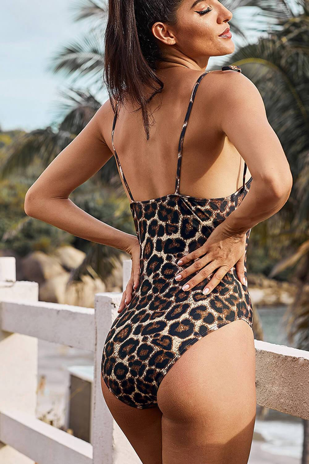 Leopard Print Tie Shoulder One Piece Swimsuit