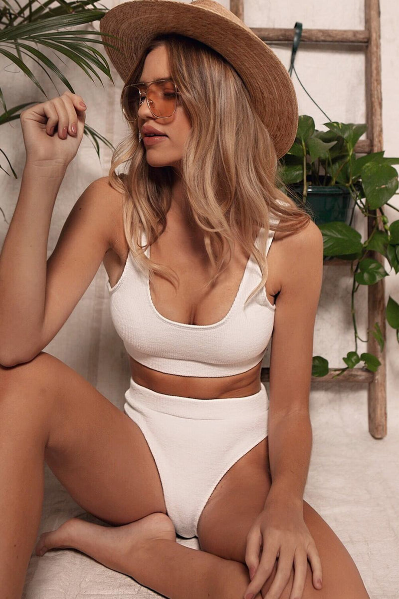 White Ribbed Crop Bikini Top