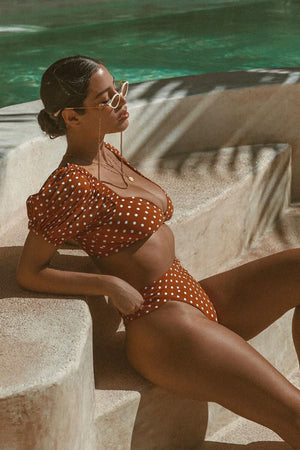 Orange Polka Dot Puff Short Sleeves Bikini Top