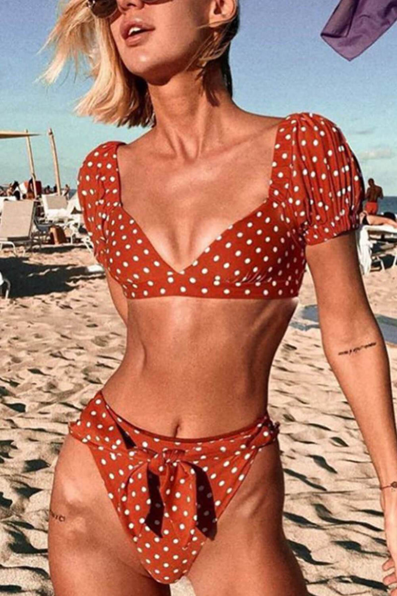 Red Polka Dot Puff Short Sleeves Bikini Top