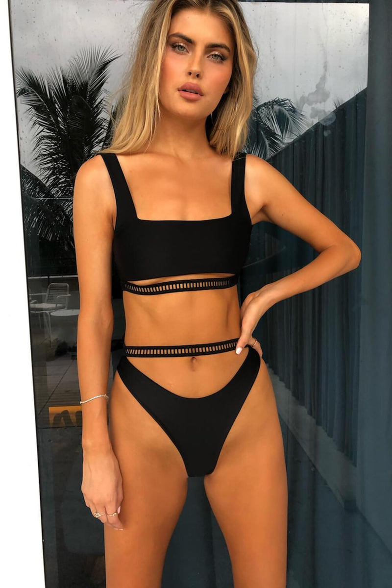 Black Square Crop Cut Out Bikini Top