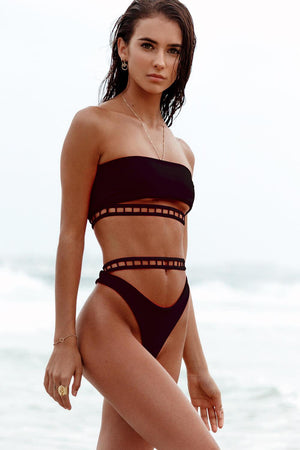 Black Bandeau Cut Out Band Bikini Top
