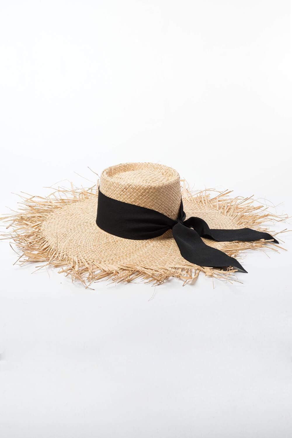 Raffia Straw Open Weave Flat Boater With Bow Ribbon Trim