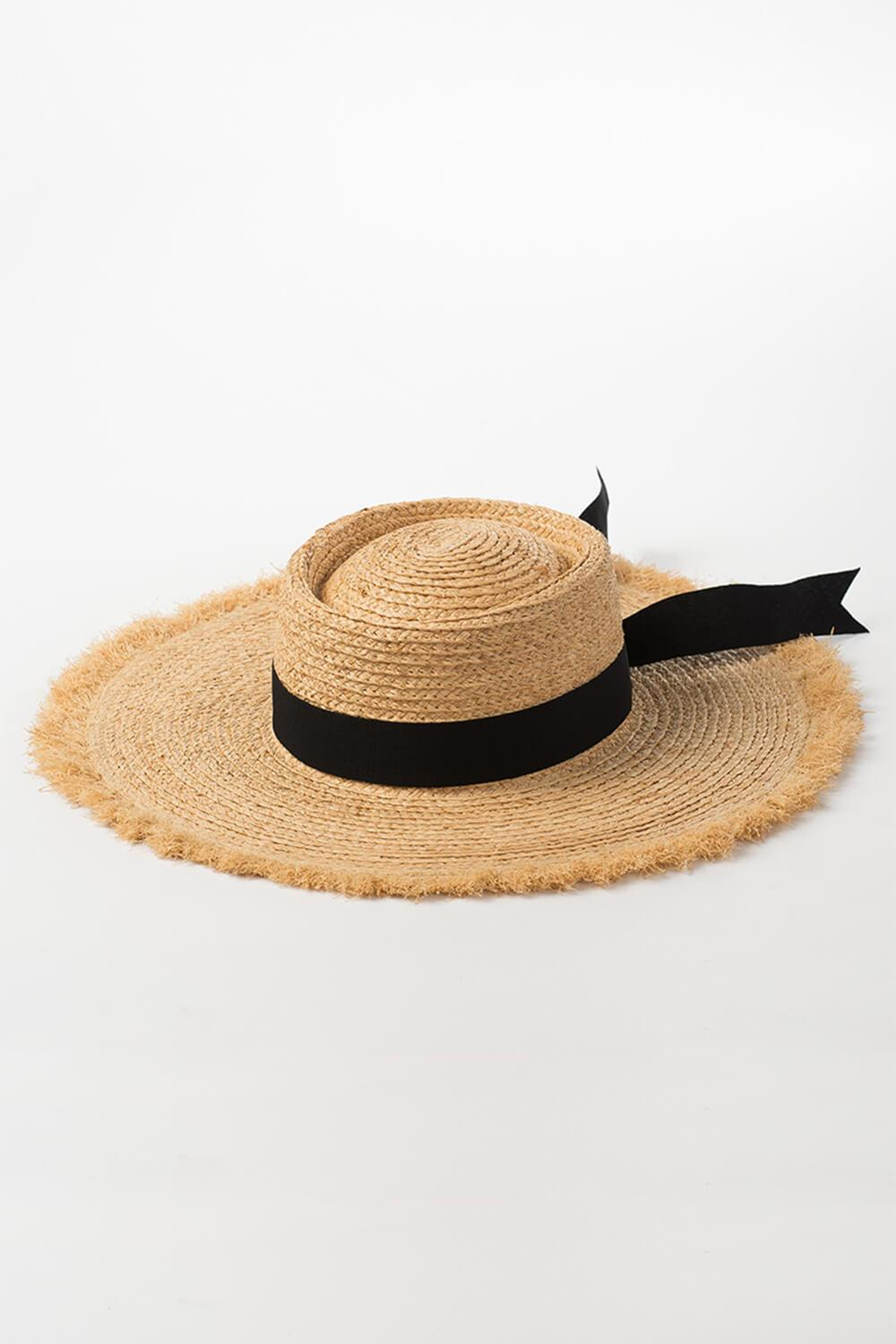 Raffia Straw Black Bow Trimmed Flat Boater