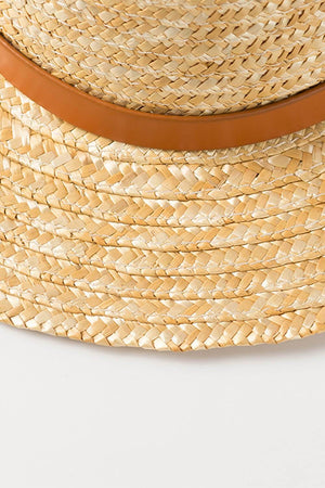Wheat Straw Leather Band Trim Boaster