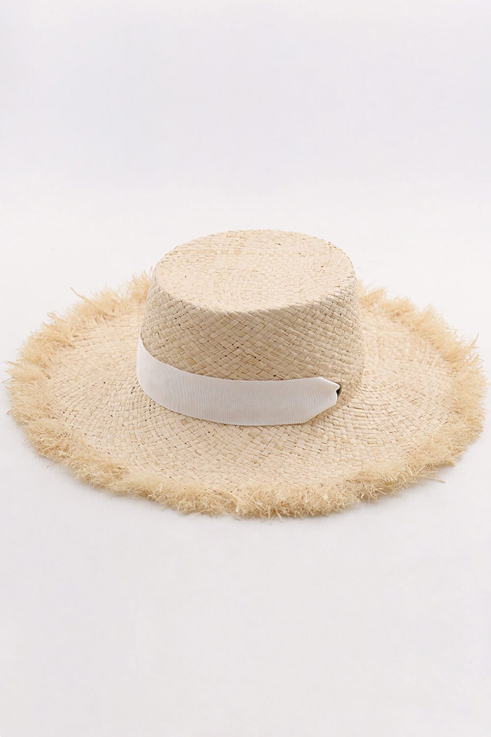 Raffia Straw Boater With White Chin Tie