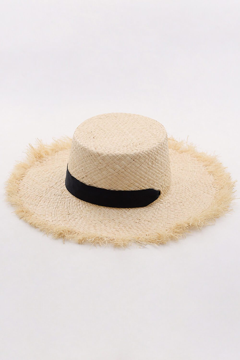 Raffia Straw Boater With Black Chin Tie