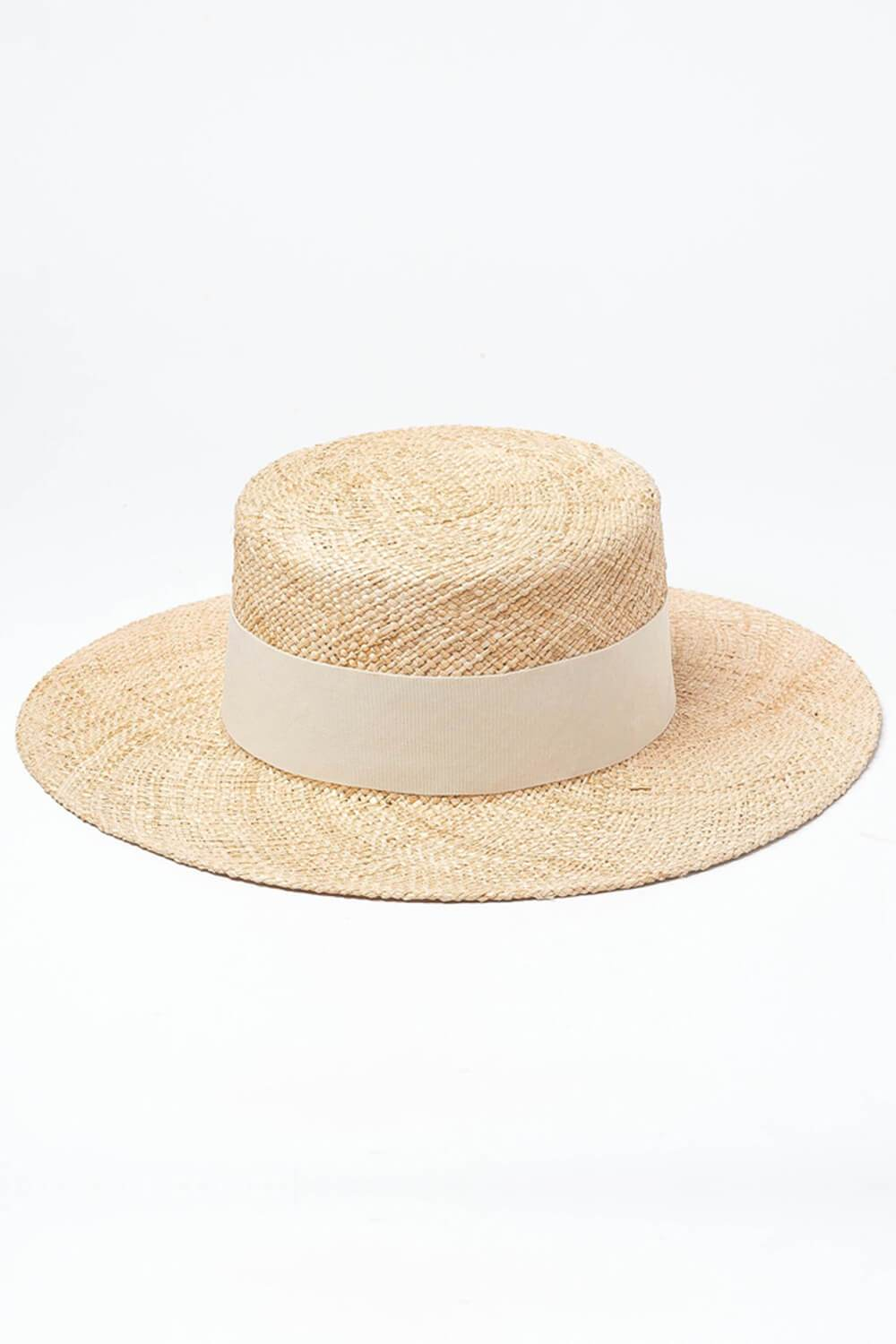 Bao Straw White Ribbon Trimmed Boster