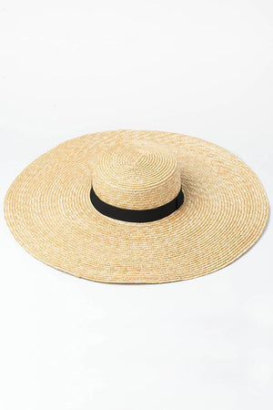 Black Ribbon Trimmed Wheat Straw Boater