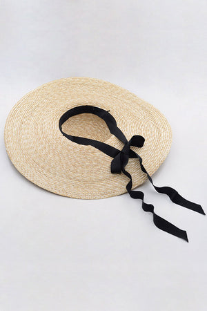 Wheat Straw Extra-Wide Brim Boater With Black Chin Tie