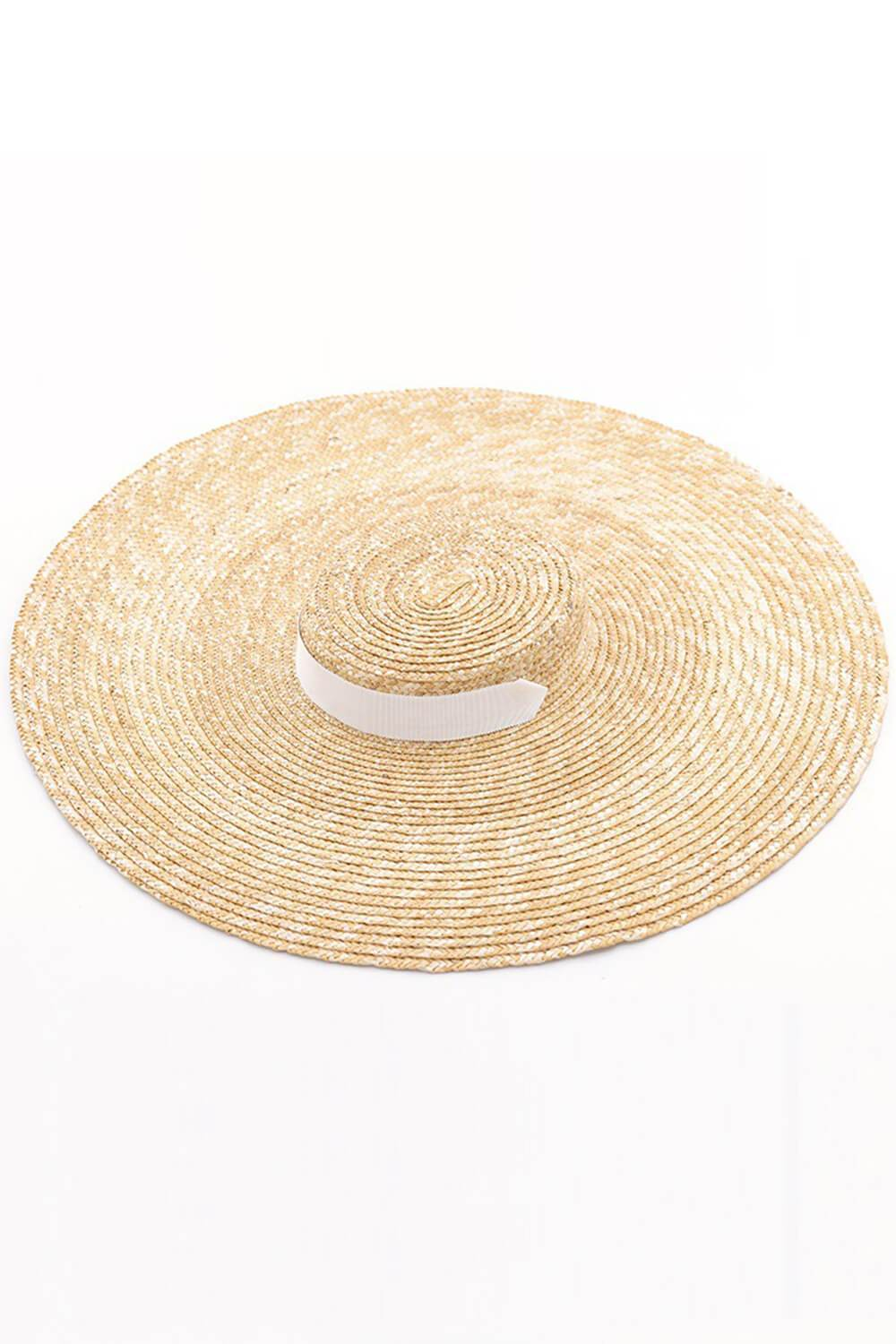Wheat Straw Extra-Wide Brim Boater With White Chin Tie