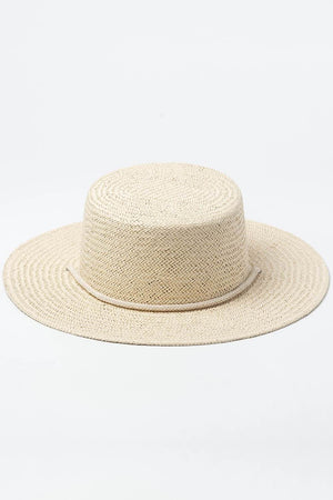 Paper Straw Boater With Beige Cotton Rope