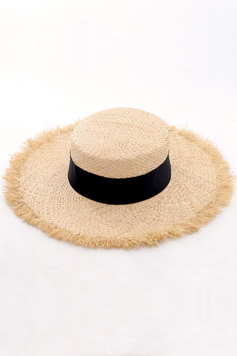 Black Trimmed Raffia Straw Flat Boater